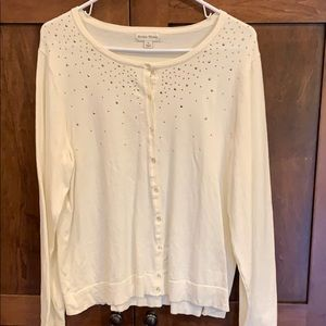 White sweater with silver rhinestones